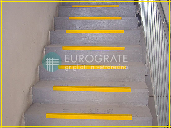 Safety edges applied to industrial stairs