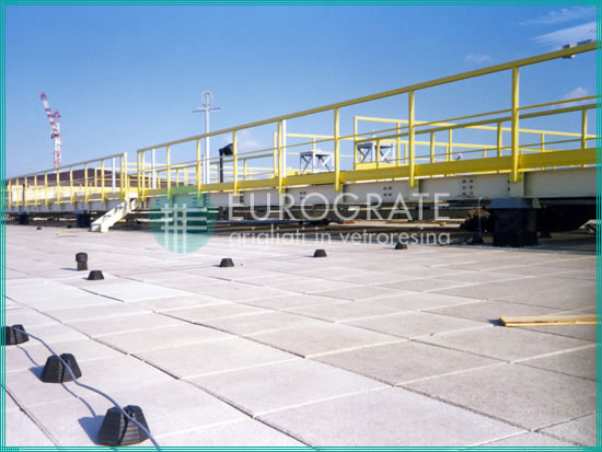 safety handrails installed on an airport roof