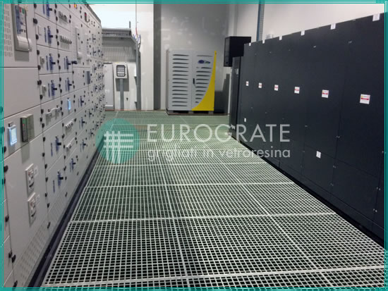 floor gratings supporting energy management equipment