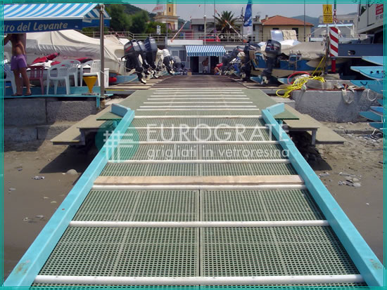 GRP walkways used at a beach resort