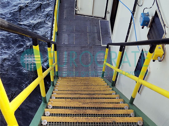 stair tread covers and handrails for the protection of workers on an offshore platform