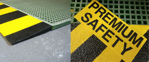 Safety products: safety edges, stair tread covers, ladder rung covers, flat panels, atex anti-static gratings, anti-slip gratings