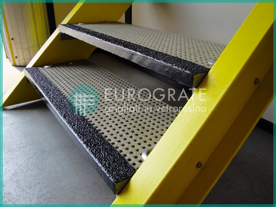 GRP stair treads on industrial stairs