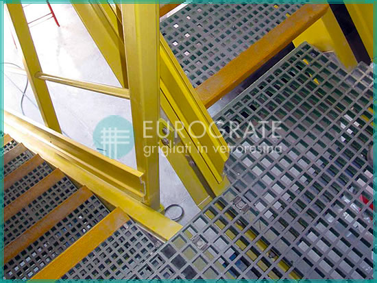GRP stair treads on a metal staircase
