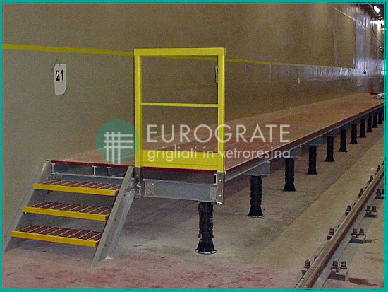 Grating stair treads and flooring in a railway installation