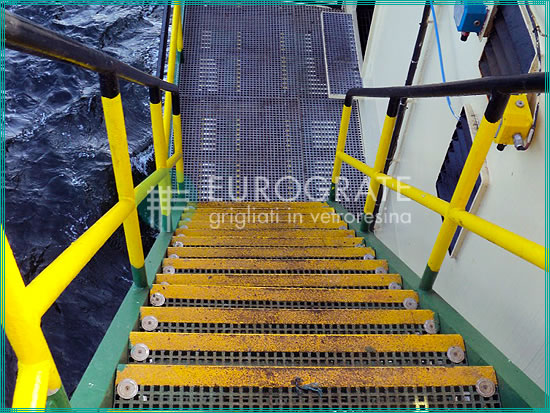 Stair treads installed in corrosive environments