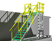 Structure with profiles and grating stair treads in 3D