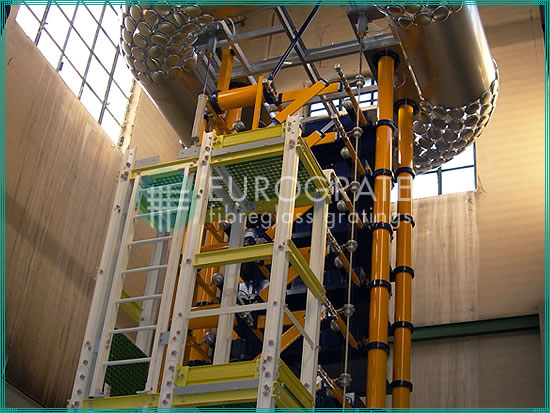 vertical ladders for protecting personnel in a power plant