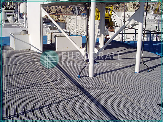 grated flooring for workers to walk safely on a ship