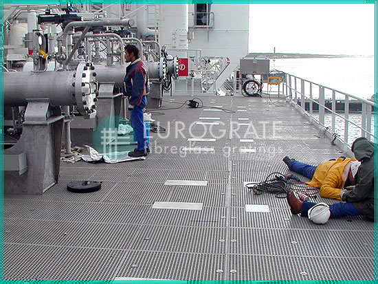 FRP handrails and gratings for the protection of workers in a ship