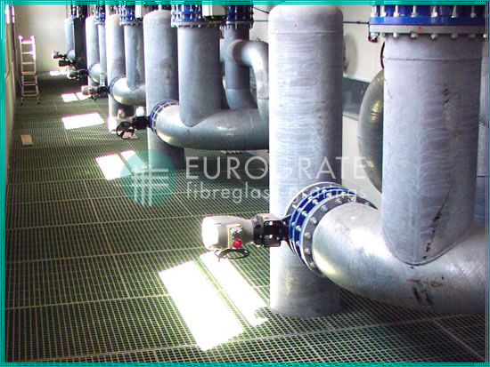 fiberglass gratings for industrial waste water treatment plants