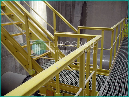 safety handrails and stair treads in the water treatment sector
