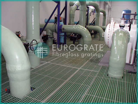 fibreglass grating used in the water treatment sector